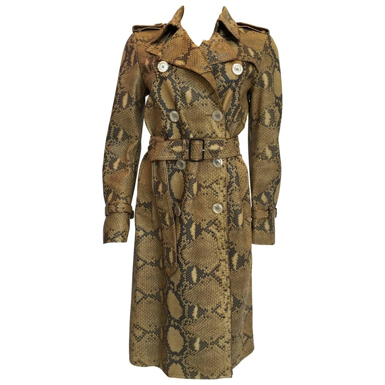 GUCCI Leather Snake Skin Print Trench