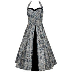 1950's Claudia Young Metallic Embroidered Silver Taffeta Halter Party Dress