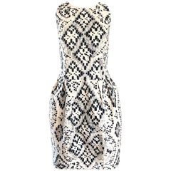 Giambattista Valli Size 10 / 12 Black and White Abstract Sleeveless Dress