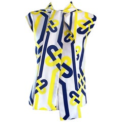1960s Lanvin Couture Blue Yellow and White Vintage 60s Nautical Silk Blouse