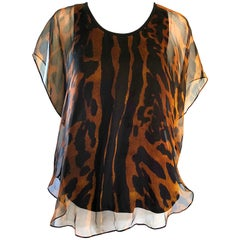 Alexander McQueen New Leopard Cheetah Print Silk Chiffon Sleeveless Top / Blouse