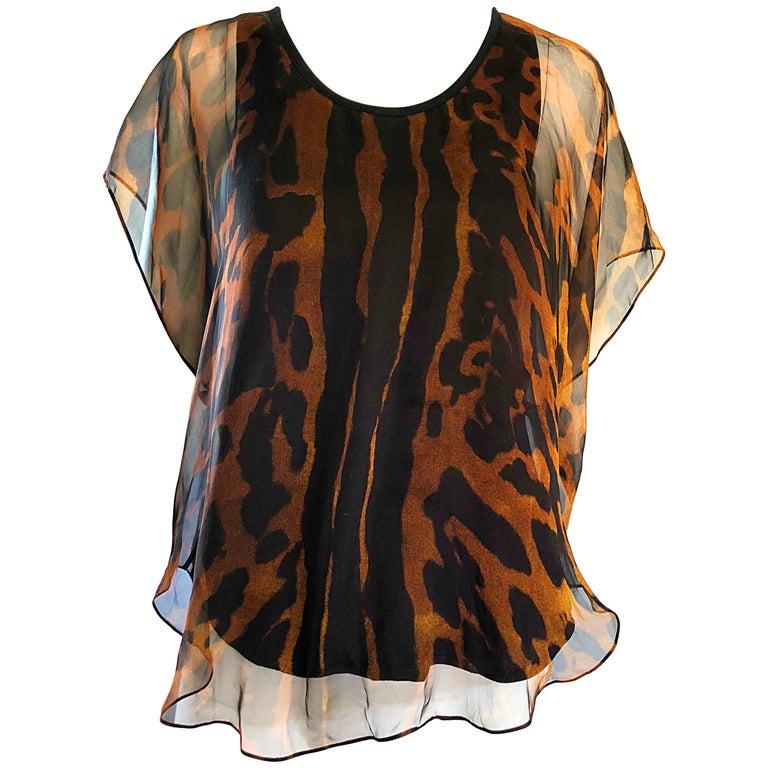 Alexander McQueen Early 2000s Leopard Cheetah Print Silk Chiffon Top / Blouse