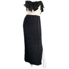 Amazing Vintage Jean Louis Couture Black and White Strapless Bow Gown