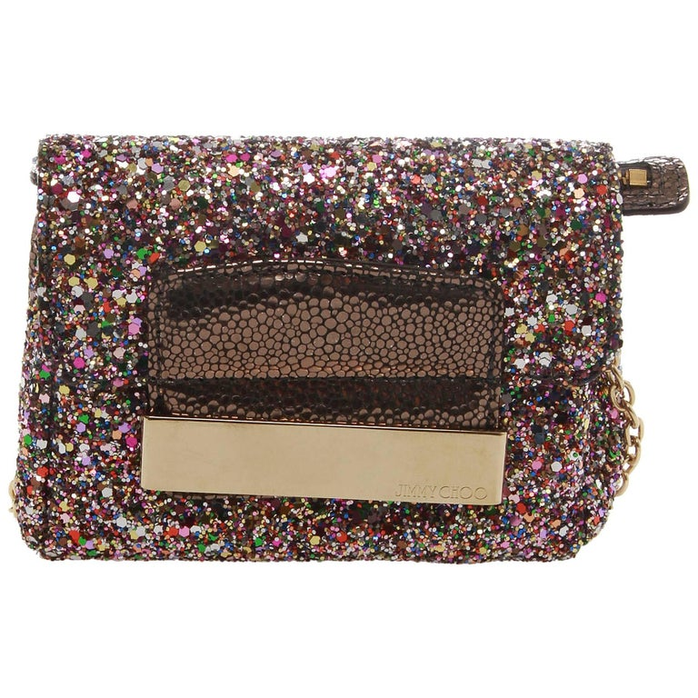 JIMMY CHOO Caro Glitter Clutch For Sale