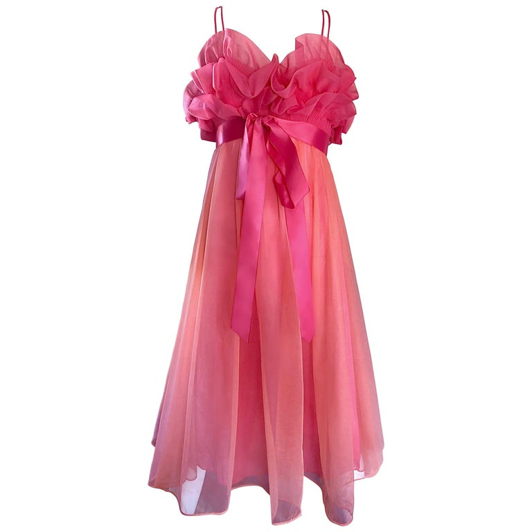 1960s Vanity Fair Negligee Peignoir Hot Pink Ruffled Nightgown Dress