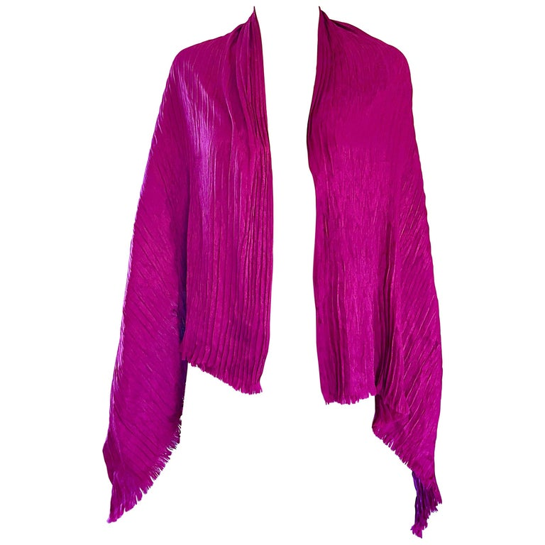 Yves Saint Laurent YSL Vintage Fuschia Hot Pink Silk Plisse 70s Shawl