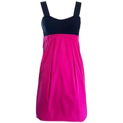 Yigal Azrouel Hot Pink and Black Size 2 Color Block Open Back Shift Dress