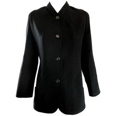 Bill Blass Vintage Size 14 Black Virgin Wool Chic Blazer Jacket