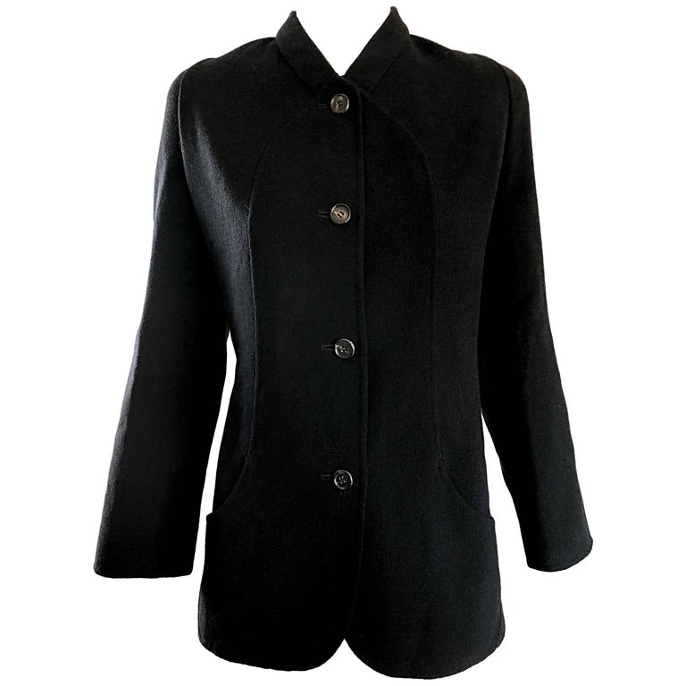 Bill Blass Vintage Size 14 Black Virgin Wool Chic Blazer Jacket