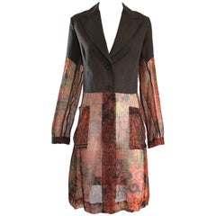 1990s Dries Van Noten Tribal Print Silk and Chiffon Avant Garde Trench Jacket