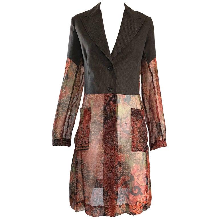 Dries Van Noten Tribal Print Silk and Chiffon Avant Garde Trench Jacket, 1990s