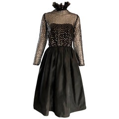 Bill Blass Vintage Black and Gold Sequined Fit n' Flare Victorian Revival Dress