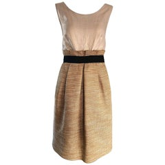 NWT 1990s Dolce & Gabbana Vintage 90s Gold Metallic Size 8 / 10 Cocktail Dress