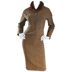 1940s Walda Scott Brown Vintage Mink Collar Wool Skirt Suit