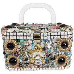 Custom made jewel encrusted lucite handle hand bag 1980s