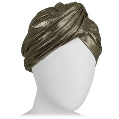 Frank Olive Private Collection Gold Lame Turban 1970s
