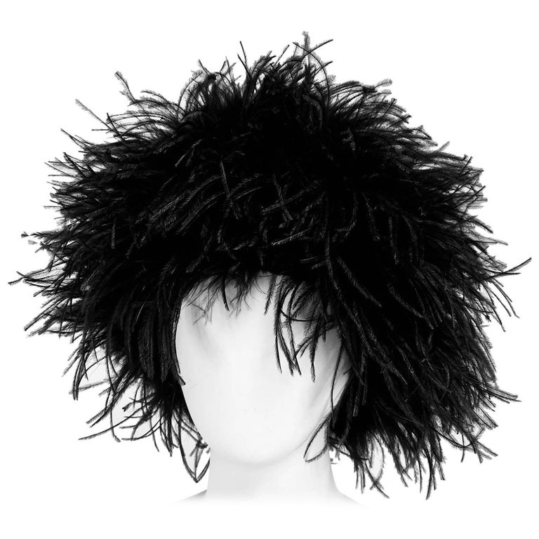 Black Marabou feather hat 1960s
