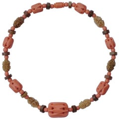 1930s Coral, Muted Green and Brown Carved Galalith Necklace