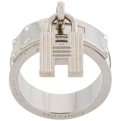 Hermes H White Leather and Silver Scarf Ring