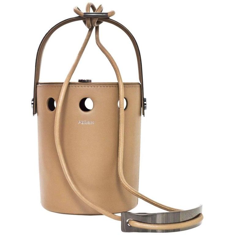 Perrin Taupe Calf Leather Le Mini Seau Structured Bucket Bag For Sale