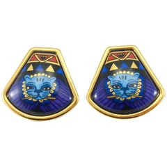 1990's Hermes Art Deco Inspired with Cat Motif Gold-Plated and Enamel Earrings