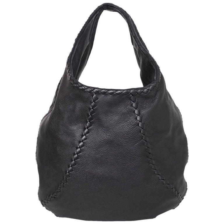 bd9ab29410685 Bottega Veneta Black Deerskin Leather Large Cervo Hobo Bag rt. $1,780 For  Sale