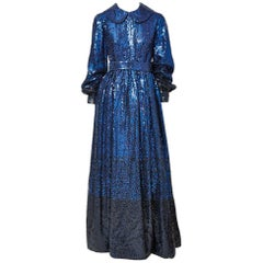 Donald Brooks Sapphire Blue Sequined Gown