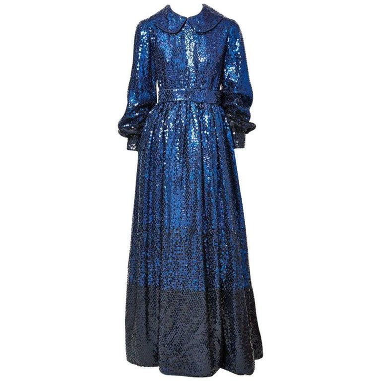 Donald Brooks Sapphire Blue Sequined Gown For Sale at 1stdibs