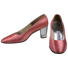 Beth's Bootery Lucite Heel Satin Pump