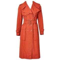 Yves Saint Laurent Rive Gauche Double Breasted Trench C. 1970's