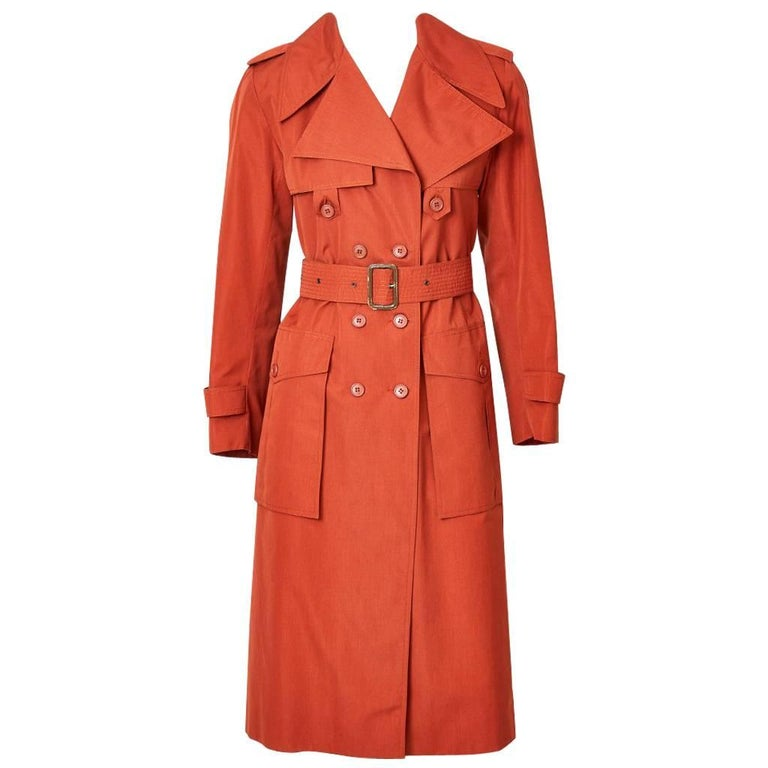 Yves Saint Laurent Rive Gauche Double Breasted Trench C. 1970's 1