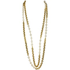 Chanel Double-Strand Gilt Chain and Pearl Sautoir Necklace, 1984