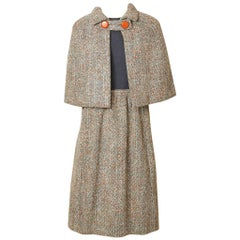 Norell Tweed Day Dress with Capelet