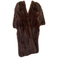 1960'S Chocolate Dyed Rabbit Fur Stole-Capelet