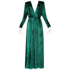 Yves Saint Laurent Vintage Emerald Green Velvet Leopard Gown