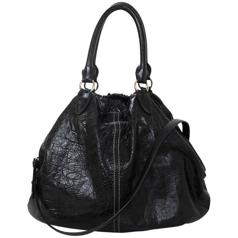 Miu Miu Black Distressed Leather Shoulder Bag For Sale at 1stdibs e6eeb800c7f7d