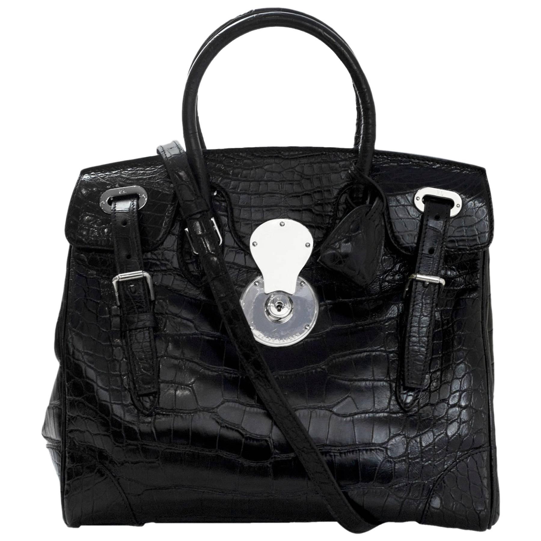 Ralph Lauren Black Crocodile Ricky 33 Satchel Bag with Strap