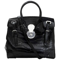 Ralph Lauren Black Crocodile Ricky 33 Satchel Bag with Strap