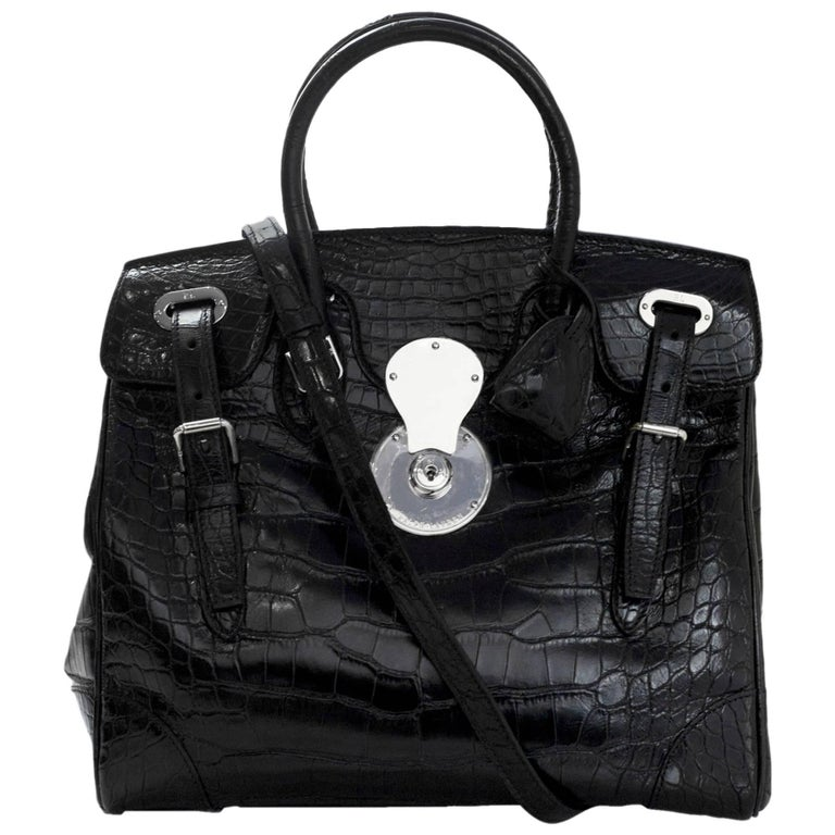ad3052effa0e Ralph Lauren Black Crocodile Ricky 33 Satchel Bag with Strap For Sale at  1stdibs