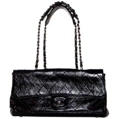 Chanel Black Crackled Patent Leather Ritz Quilted Flap Bag rt. $2,495