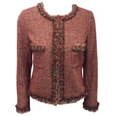 Chanel Red Ivory and Metallic Gold Tweed Jacket With Lesage Embroidery