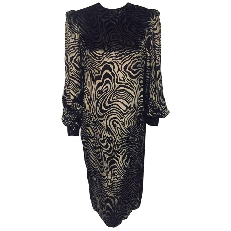 Galanos Black and Pewter Velvet Long Sleeve Sheath w/Poet Sleeves and Embroidery