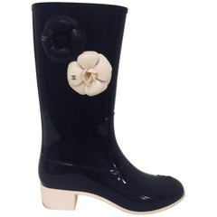 Coveted Chanel Black Cap Toe Wellington Boots with Two Camellia Shaft