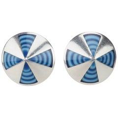 C.1970 Sterling Silver Taxco Mexico Op Art Earrings