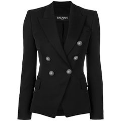 Balmain Black Wool Classic Double Breasted Blazer Sz FR40