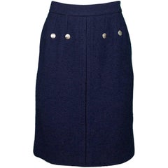Chanel Navy Wool Boucle Skirt Sz FR40