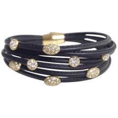 Brown Leather 7 Strand Bracelet With White Sapphires