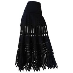 Gianfranco Ferre Black Laser Cut Out Maxi Skirt