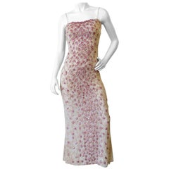 Badgley Mischka Cream & Pink Beaded Evening Gown