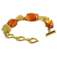 Yves Saint Laurent Paris Signed Bracelet Orange Resin & Gilt Metal Cabochons